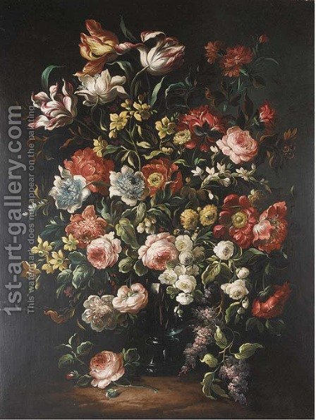 Tulips, roses, fritillaria, narcissae, lilac and other summer flowers in a glass vase by Dutch School - Reproduction Oil Painting