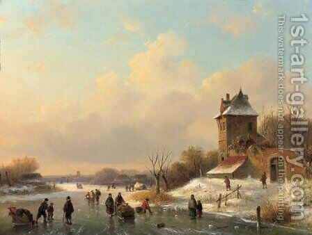 A winter landscape with skaters by a fortified mansion by Dutch School - Reproduction Oil Painting