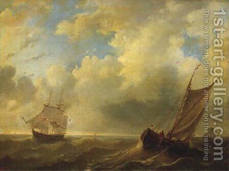 Shipping on a choppy sea by Dutch School - Reproduction Oil Painting