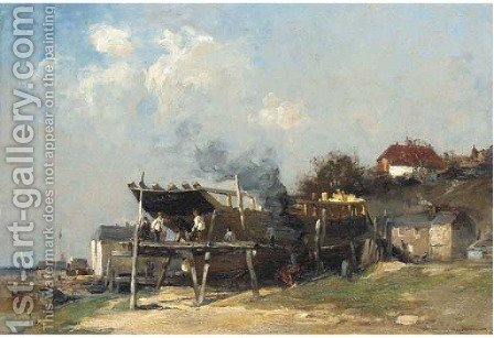 On the stocks - boatbuilding at Rye by Edward Aubrey Hunt - Reproduction Oil Painting