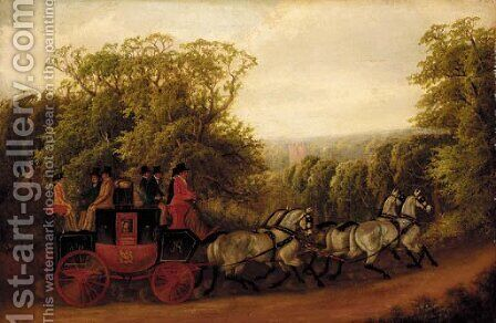 The Birmingham to Warwick Royal Mail coach by E. F. Lambert - Reproduction Oil Painting