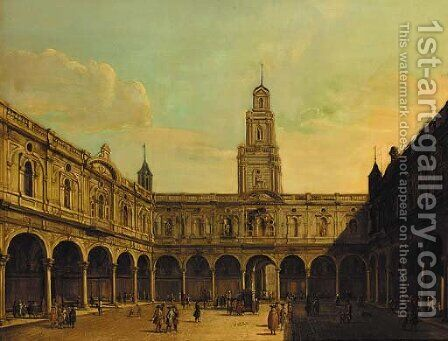 The courtyard of the Royal Exchange by (Giovanni Antonio Canal) Canaletto - Reproduction Oil Painting