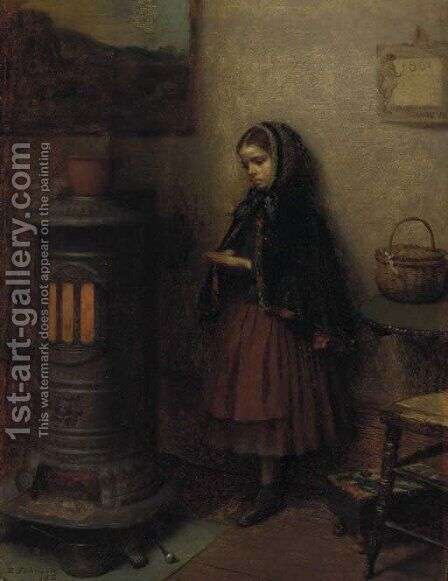 Warming Her Hands 2 by Eastman Johnson - Reproduction Oil Painting