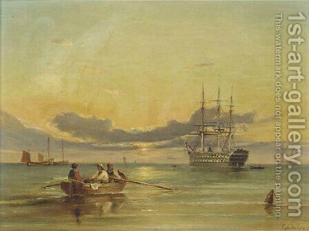 A screw two-decker lying at anchor at dusk by Ebenezer Colls - Reproduction Oil Painting