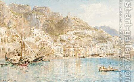 Fishing vessels off the Amalfi coast by Ebenezer Wake Cook - Reproduction Oil Painting