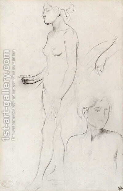 A nude Study for the Figure of Semiramis and futher Studies for her Hand and the Head and Shoulders of an Attendant by Edgar Degas - Reproduction Oil Painting