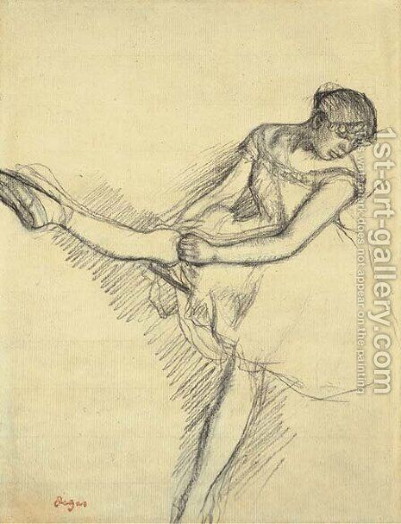 Danseuse assise, reajustant son bas by Edgar Degas - Reproduction Oil Painting