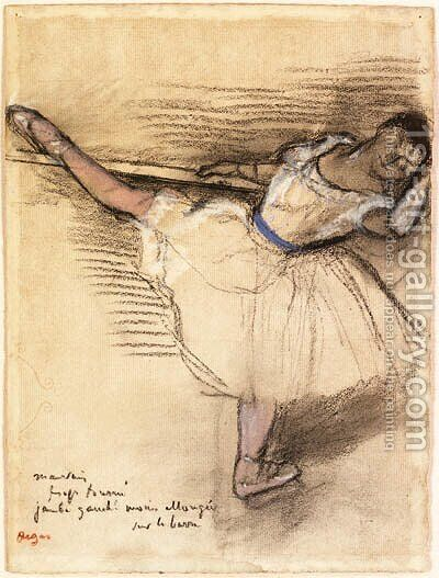 Danseuse pratiquant  la barre (Dancer practicing at the Bar) by Edgar Degas - Reproduction Oil Painting