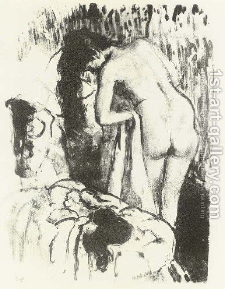 Nude Woman Standing, Drying Herself by Edgar Degas - Reproduction Oil Painting