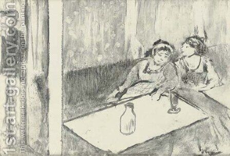 Women in a cafe (Femmes au cafe) by Edgar Degas - Reproduction Oil Painting