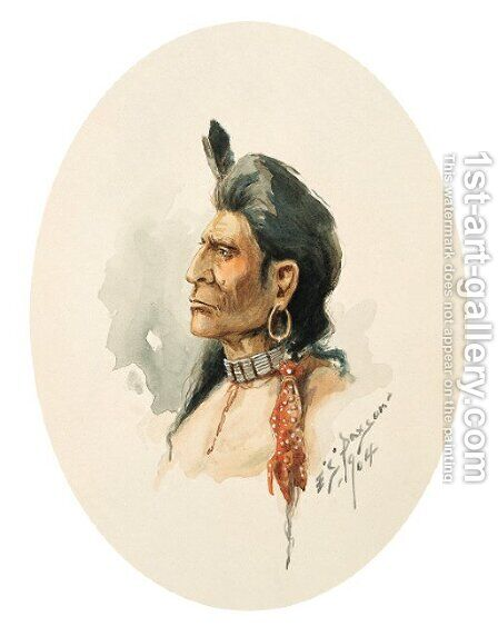 Portrait of a Sho-Sho-Ne by Edgar Samuel Paxson - Reproduction Oil Painting