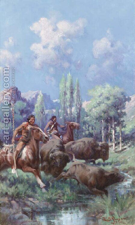 A Springtime Hunt by Edgar Samuel Paxson - Reproduction Oil Painting