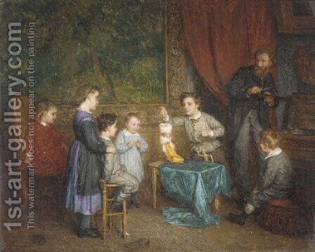 The young puppeteer by Edmond Eugene Valton - Reproduction Oil Painting