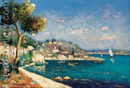 La baie de Cassis by Edmond Marie Petitjean - Reproduction Oil Painting