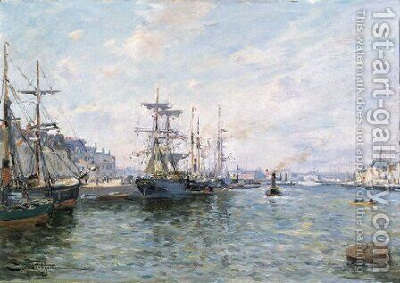 Ships in a Port by Edmond Marie Petitjean - Reproduction Oil Painting