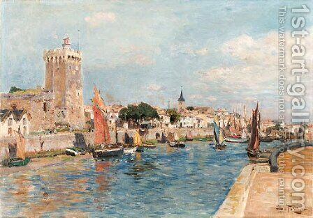 The port of Sables d'Olonne by Edmond Marie Petitjean - Reproduction Oil Painting