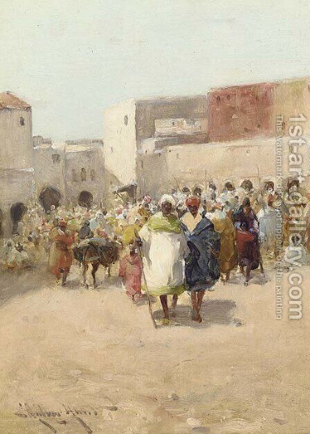 The Souk by Edward Aubrey Hunt - Reproduction Oil Painting