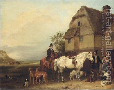 A sporting party outside a house by Edmund Bristow - Reproduction Oil Painting