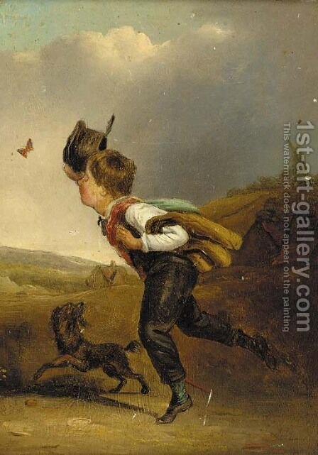 Chasing the butterfly by Edmund Bristow - Reproduction Oil Painting