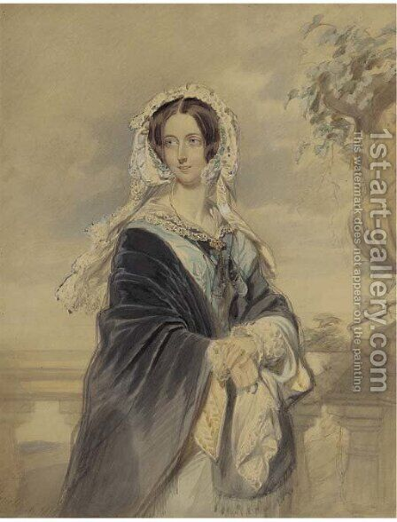 Portrait of Queen Victoria, three-quarter-length, standing on the terrace at Osborne House, carrying her son Alfred Ernest Albert by Edmund Havell Jnr. - Reproduction Oil Painting