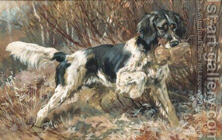 A Setter Retrieving by Edmund Henry Osthaus - Reproduction Oil Painting