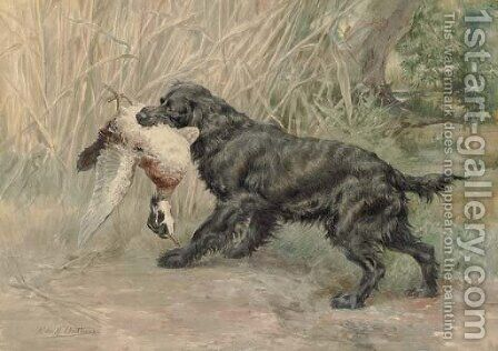 A Spaniel with a Mallard by Edmund Henry Osthaus - Reproduction Oil Painting