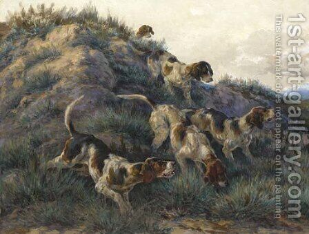 Hounds on a scent by Edmund Henry Osthaus - Reproduction Oil Painting