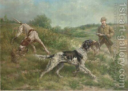 Hunting in an Upland Landscape by Edmund Henry Osthaus - Reproduction Oil Painting