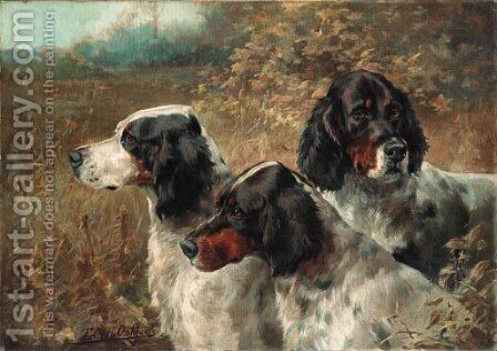 Three English Setters by Edmund Henry Osthaus - Reproduction Oil Painting