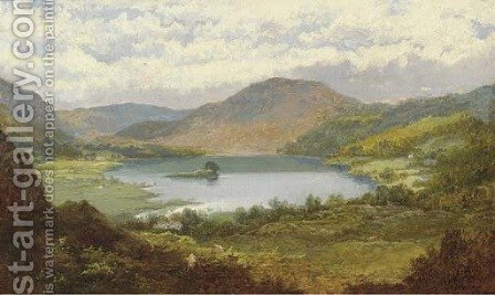 Sheep grazing in a mountainous lake landscape by Edmund Hughes - Reproduction Oil Painting