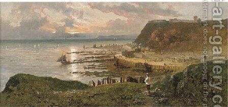 A view of Hastings, East Sussex by Edward H. Niemann - Reproduction Oil Painting