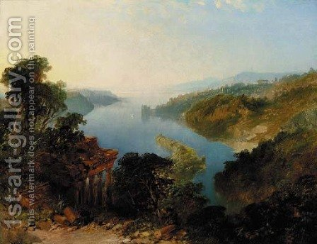 An Italianate lake landscape by Edward H. Niemann - Reproduction Oil Painting