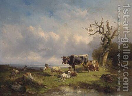 A herdsman with cattle and sheep in a landscape by Edmund Mahlknecht - Reproduction Oil Painting
