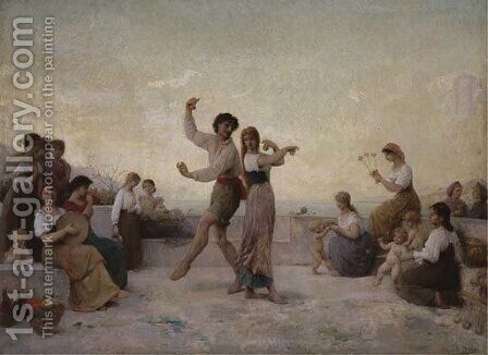 Dancing on the terrace by Edouard Alexandre Sain - Reproduction Oil Painting