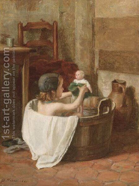 A special bathe by Edouard Frère - Reproduction Oil Painting