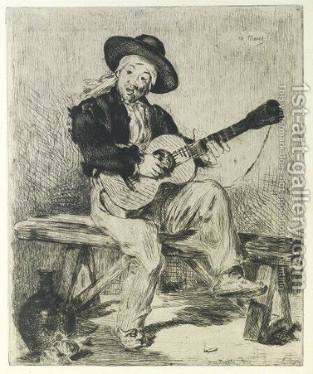 Le Chanteur Espagnol (Le Guitarero) by Edouard Manet - Reproduction Oil Painting