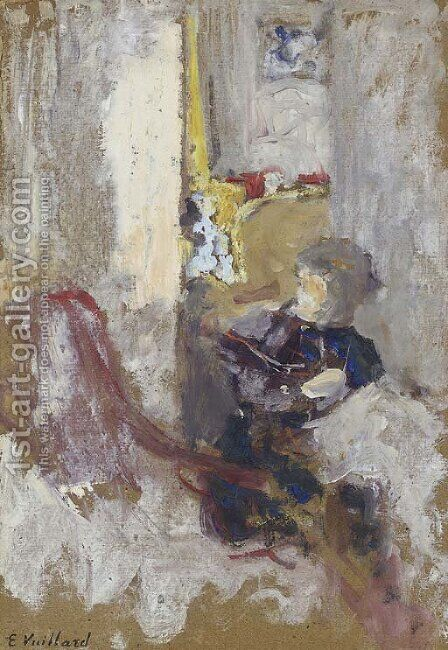Croquis de femme cousant by Edouard  (Jean-Edouard) Vuillard - Reproduction Oil Painting