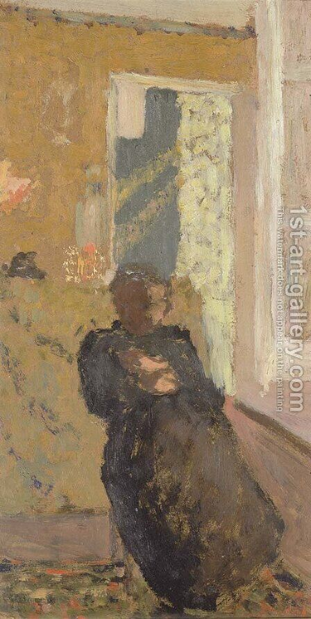 Dame en noir assise by Edouard  (Jean-Edouard) Vuillard - Reproduction Oil Painting