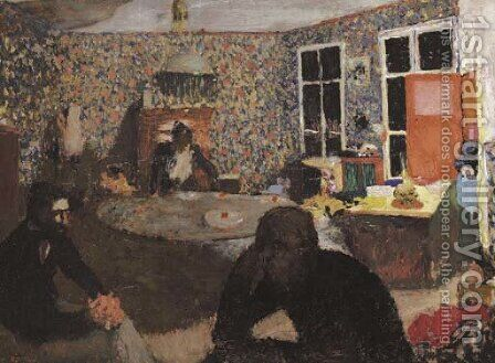 La soiree familiale by Edouard  (Jean-Edouard) Vuillard - Reproduction Oil Painting