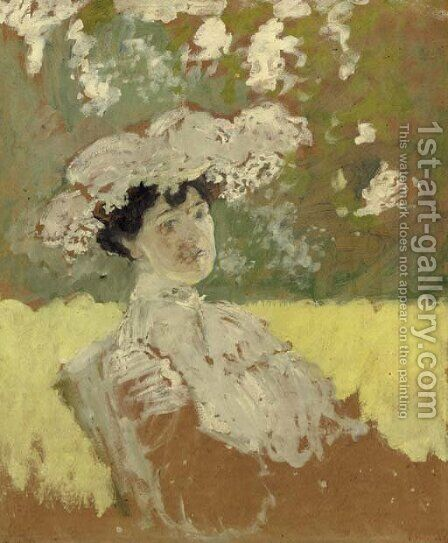 Madame Hessel en capeline by Edouard  (Jean-Edouard) Vuillard - Reproduction Oil Painting