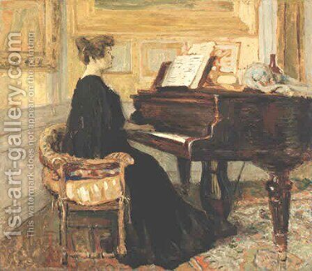 Mme Arthur Fontaine Au Piano by Edouard  (Jean-Edouard) Vuillard - Reproduction Oil Painting