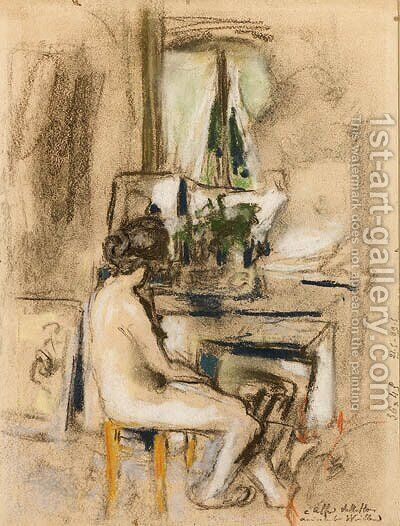Nu assis devant la chemine (Nude seated in front of a Fireplace) by Edouard  (Jean-Edouard) Vuillard - Reproduction Oil Painting