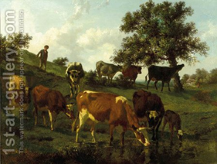 A hilly landscape with a herdsboy and cows drinking by a brook by Edouard Woutermaertens - Reproduction Oil Painting