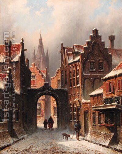 A snow-covered street in Delft, with the church spire of the Oude Jan in the background by Eduard Alexander Hilverdink - Reproduction Oil Painting