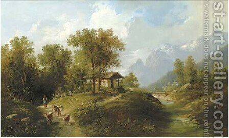 Drover in an Alpine landscape, Oberbayern by Eduard Boehm - Reproduction Oil Painting