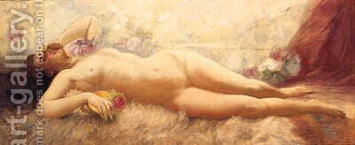 A Reclining Female Nude by Eduard Buchner - Reproduction Oil Painting
