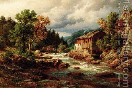 A fisherman by a river in the south Tirol, Austria by Eduard Friedrich Pape - Reproduction Oil Painting