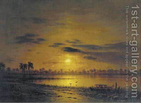 Sunset over an exotic river landscape by Eduard Hildebrandt - Reproduction Oil Painting