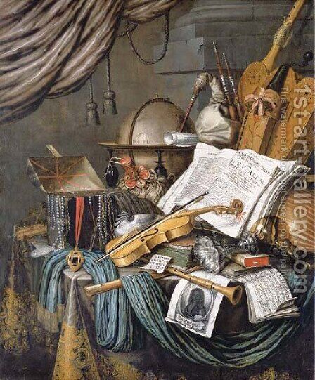 A vanitas still life of a globe, a casket of jewels and medallions, books, a hurdy-gurdy, a bagpipe, a lute, a violin, a silver tazza, a roemer by Edwaert Collier - Reproduction Oil Painting