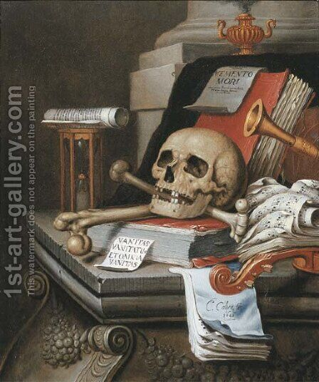 A vanitas still life with an hour glass, a skull and crossbones, a scroll, two books, music scores, a flute, a violin, a sheet of paper by Edwaert Collier - Reproduction Oil Painting